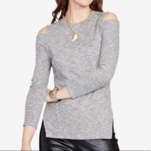 NWT Rachel Roy Gray Ribbed Cold Shoulder Top XL